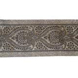 "Jacquard Ribbon 4 1/8"" Metallic Silver & Black"