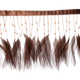 "Feather Beaded Fringe 4"" Brown Conso 6 Yards"