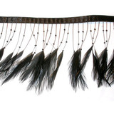 "Feather Beaded Fringe 4"" Black Conso 6 Yards"