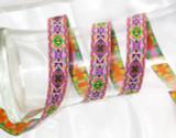 """Aztec Jacquard Ribbon 3/4"""" (20mm) Turret Pink Per Yard"""