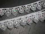 """Venise Lace 3/4"""" (19mm) White with Bead Sequin Detail 5 Yards"""