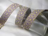 "Jacquard Ribbon 7/8"" Diamonds Purple Gold Silver Metallic"