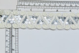 """Scroll & Sequin Mesh Trim 1 1/2"""" Sparkly Ivory Per Yard  The sequins are a silver color in a flower shape  Very sparkly"""