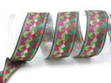 """Jacquard Ribbon 1 1/2"""" (38mm) Jester Tail Metallic Per Yard"""