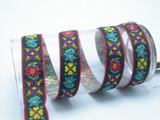 """Boho Jacquard Ribbon 1"""" (25mm) Multi Floral Black Pink Border 5 Yards"""