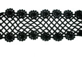 "Venise Lace 2 7/8"" (73mm) Galloon Rose Lattice Black Priced Per Yard"