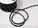 "Cord with Fused Beads 3/8"" Black Silver 18 Yards"