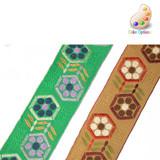"Jacquard Ribbon 1 7/8"" Hex Floral *Colors* Per Yard"