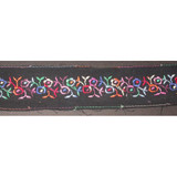 "Embroidered Trim 2"" Black with Multi Floral 5 yards"