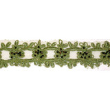 """Sheer Embroidered 1 1/8"""" Green with Black Beads 5 Yards"""