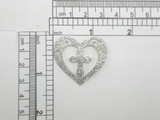 Heart Patch w cross Sparkly Metallic Silver Iron On Patch Applique