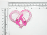 "Ballet Slippers in Heart with Bow Iron On Patch Applique Measures 2 7/8"" across x 2 1/2"" high approximately Rhinestud detailing and a sheer Organza Bow"