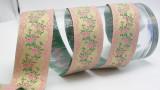 """Jacquard Ribbon 1 1/2"""" (38.1mm) Metallic Gold Pink Floral Priced Per Yard"""