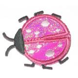 Ladybug Holographic Wing Layered Pink Iron On Applique