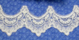 "Bridal Sheer 3 5/8"" (92mm) Off White Corded & Embroidered Priced Per Yard"