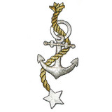 Anchor with Rope & Star Metallic