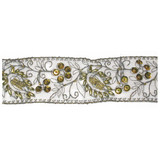 """Sheer Embroidered 1 7/8"""" Beaded Gray & Gold Per Yard"""