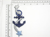 "Anchor with Rope & Star Blue Embroidered Iron On Patch Applique 100% Embroidered Measures 1 7/8"" across x 5"" high"