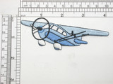 "Prop Plane Applique Embroidered Iron On Patch in Blue Embroidered Fully  Measures 4 1/8"" across x 1 3/8"" tall"