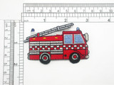 Fire Truck patch Iron On Embroidered applique 3""