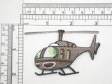 "Helicopter Iron on Embroidered Applique Embroidered Fully  Measures 3"" across x 1 7/8"" tall"