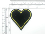 Heart Patch Black Velvet Embroidered Iron On Applique