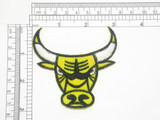 "Bull Head Patch Yellow Iron On Embroidered Applique 3""  x 3"" high"