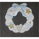 Christmas White Garland Wreath Iron On Patch Applique