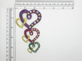 """Heart Patch String 4 1/2"""" Embroidered Iron On Applique"""