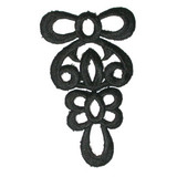 "Black Decorative Filigree Swirl 3"" x 1 7/8"" Iron On Patch Applique"