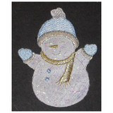 Snowman White Blue Sparkle with Hat Gloves & Scarf Iron On Patch Applique