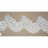 "Embroidered Organza 4 1/2"" White Per 7 Yards"