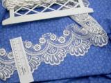 "Embroidered Organza 4 1/4"" (108mm) White Scalloped Per Yard"