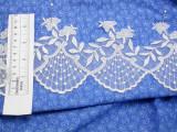 "Embroidered Organza 4 1/4"" (107mm) Off White Scalloped Per Yard"