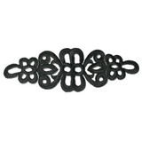 "Black Decorative Filigree Embroidered Iron On Patch Applique 5 3/4"" across x 1 7/8"" wide"