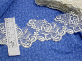 """Embroidered Organza 4 1/2"""" (114.3mm) Ivory Scalloped Per Yard"""