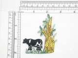 "Cow in Yard Patch Iron On Embroidered Applique Embroidered on White Twill Measures 3"" across x 2 7/8"" high"