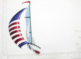 """Sail Boat Large Embroidered Iron On Patch Applique  Fully Embroidered Measure 8 3/4"""" high x 5"""" wide"""