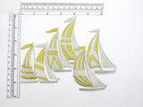 """Sail Boats Flotilla  Gold Silver Metallic Iron On Embroidered Patch Applique  Fully Embroidered Measures 7"""" across x 5 1/2"""" high"""