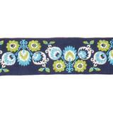 "Jacquard Ribbon 2"" Navy Lime Floral Per Yard"