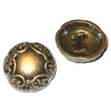 "Button 1 1/8"" Antique Brass Finish Domed Per Piece"