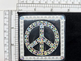 """Peace Sign Patch Holographic Sparkle Sequins Embroidered on Clear Plastic - Holographic Sequins. Apply Heat from Rear of Patch when applying Measure 2 3/4"""" x 2 3/4"""" approximately"""