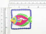 "Fish in Wave Border Iron On Patch Applique  Fully Embroidered Measures 2 "" high x 2"" across"