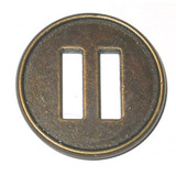 "Button 1 1/4"" Metal Flat 2 Hole Ant Gold Per Piece"