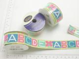 "ABCD 1"" (25mm) woven Jacquard Ribbon 4ft roll"