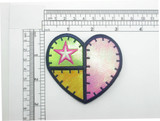 Heart holographic Patch Green Yellow Pink Iron On Embroidered Applique
