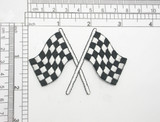 "Checkered Flag 3""x 2"" iron On Embroidered Applique Fully Embroidered in Rayon Thread  Measures 3"" across x 2"" high"