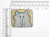 Cat Patch Sparkly Silver Embroidered Iron on Applique
