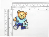 """Soccer Bear Patch Iron On Embroidered Applique 2 1/4"""" x 1 7/8"""""""