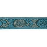 """Jacquard Ribbon 1 1/4"""" Turquoise Black & Met Silver 10 Yards"""